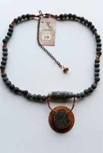 19 Dragonscale agate and druzy necklace