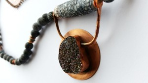 19 Dragonscale agate and druzy necklace closeup